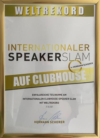 Urkunde Internationaler Speaker Slam